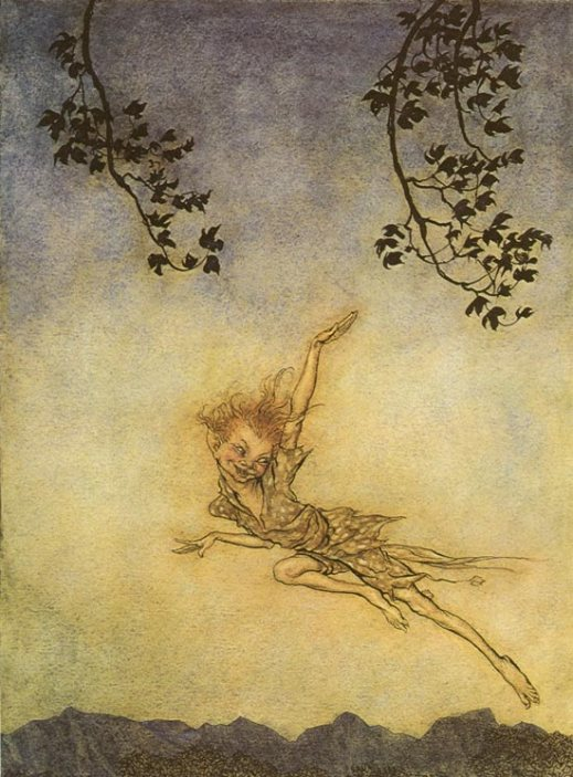 Puck a Sprite. Painting by Arthur Rackham. sourced from Wikimedia Commons. SC Skillman Paranormal Warwickshire