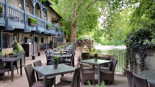 Saxon Mill Warwick outdoor dining area photo credit Jamie Robinson Paranormal Warwickshire SC Skillman