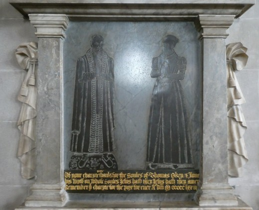 Commemorative plaque Thomas Oken and his wife Joan in St Marys Church Warwick