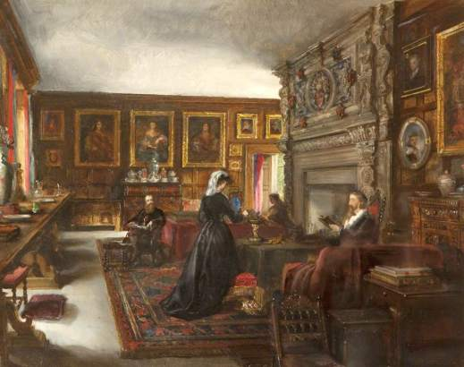 The Quartet in the Great Hall Baddesley Clintond painting by Rebecca Orpen Paranormal Warwickshire SC Skillman