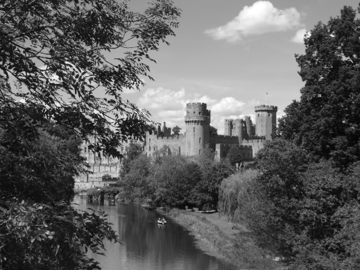 Warwick Castle view from town bridge black and white photo credit Jamie Robinson SC Skillman Paranormal Warwickshire