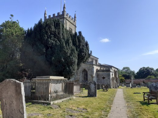 Anglican church of St Peter and graveyard at Coughton Court Warwickshire